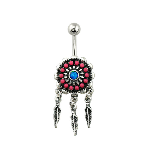 Tribal Acrylic Bead Flower Navel Ring