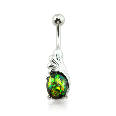 Prong Set Glitter Opal Angel Wing Belly Button Ring