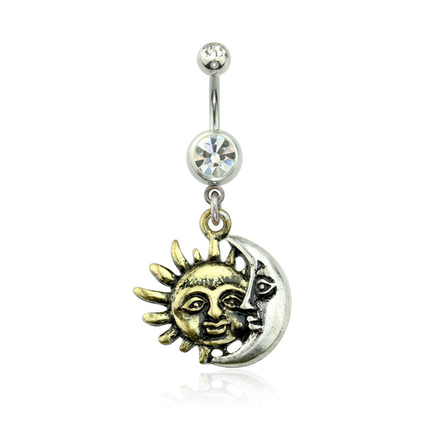 Golden Sun & Silver Moon Dangle Belly Button Ring