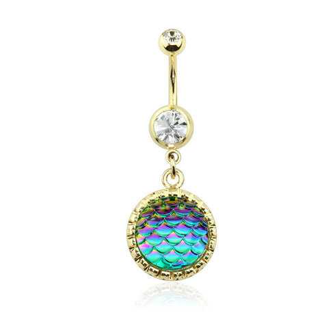 Gold Round Iridescent Scale Dangle Navel Ring