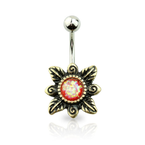 Opal Centered Tribal Flower Belly Button Ring