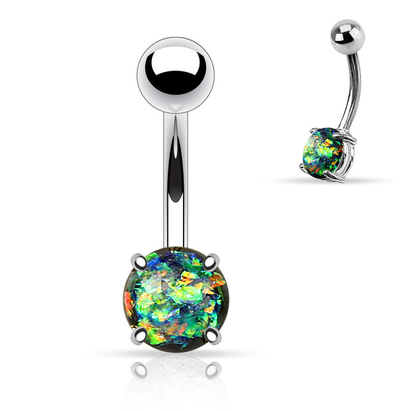 Dark Green Opal Belly Button Rings, Non Dangle Silver Belly Ring