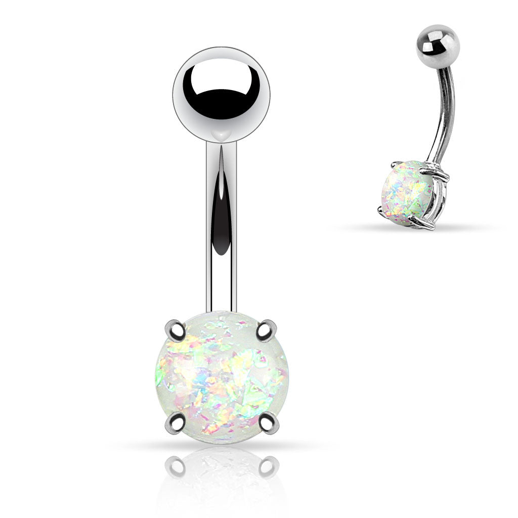 White Opal Belly Button Rings Non Dangle Silver Belly Ring