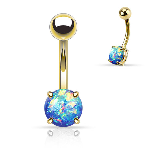 Blue Opal Belly Button Rings, Non Dangle Gold Belly Ring