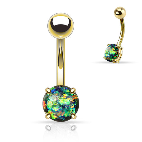 Dark Green Opal Belly Button Rings, Non Dangle Gold Belly Ring