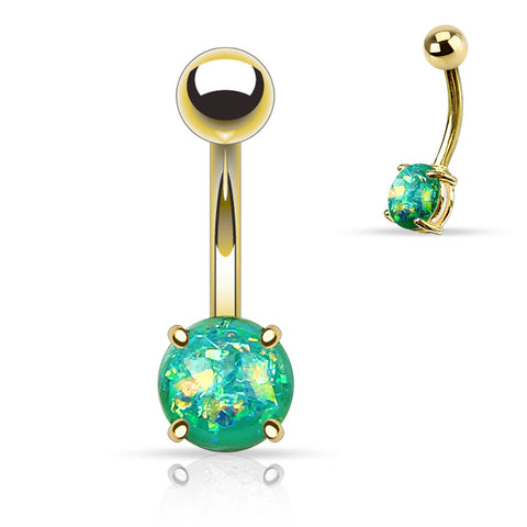 Green Opal Belly Button Rings, Non Dangle Gold Belly Ring