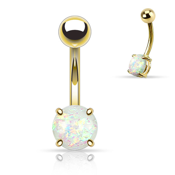 White Opal Belly Button Rings, Non Dangle Gold Belly Ring