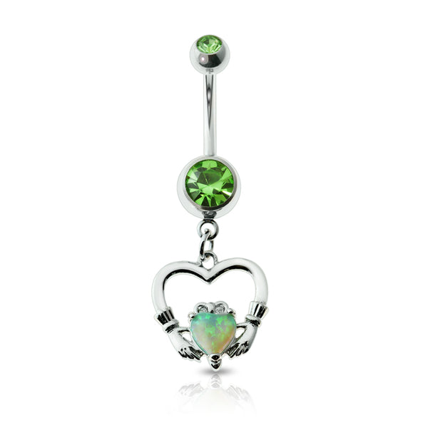 "Glitter Opal ""Giving Heart"" Dangle Double Green Crystal Belly Ring"
