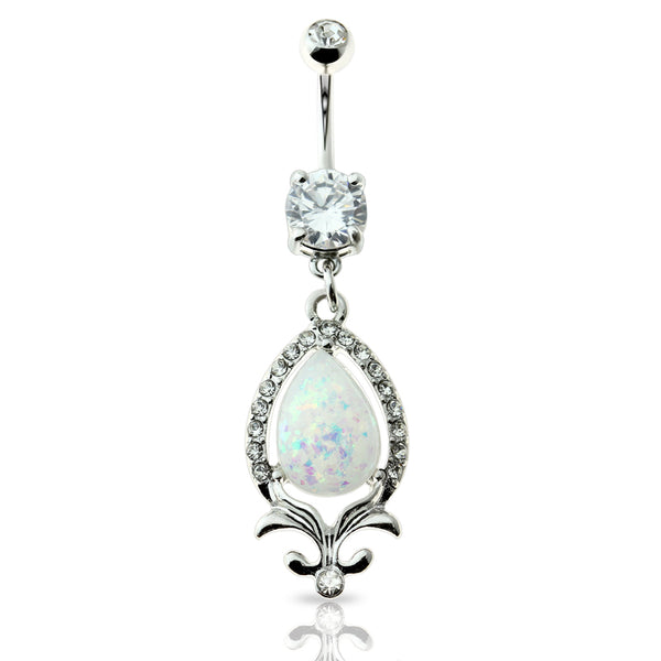 Gem Paved Glitter Opal Tear Dangle Belly Button Ring