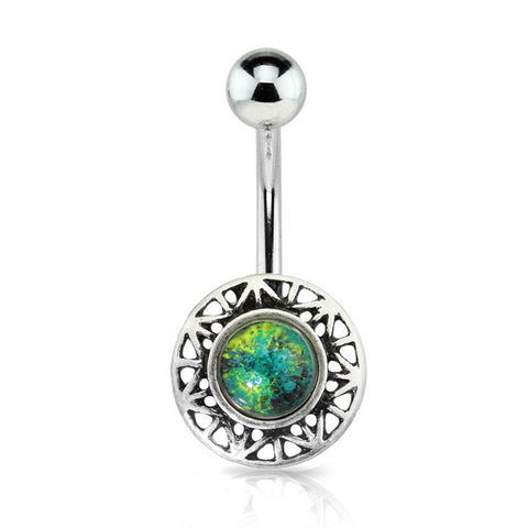 Silver Burnish Round Green Stone Centered Belly Ring