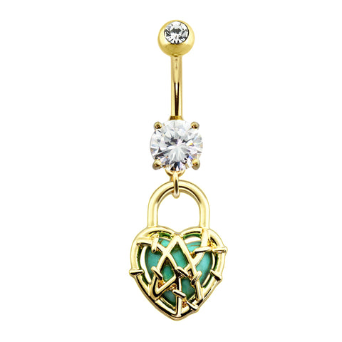 Turquoise Stone Heart Locked Dangle Belly Button Ring