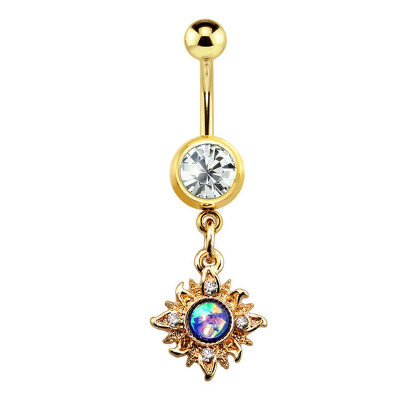 Blue Opal Centered Flaming Dangle Belly Button Ring
