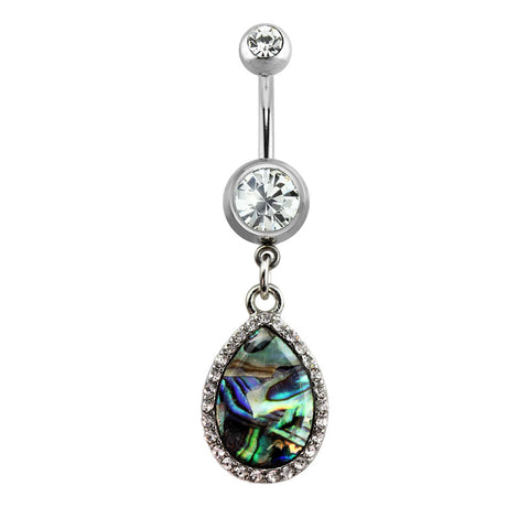 Gem Paved Tear Drop Abalone Dangle Belly Button Ring