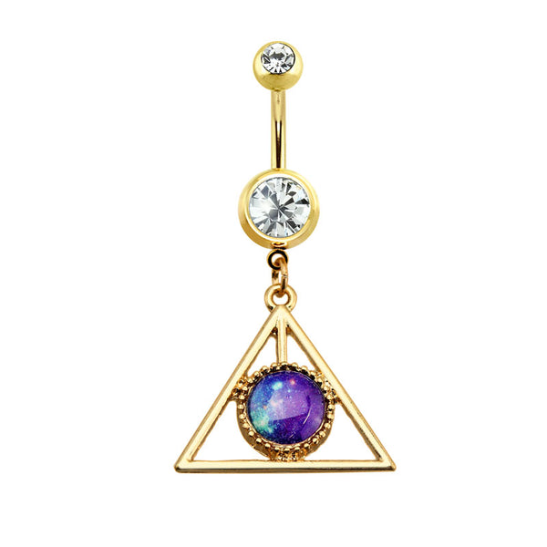 Triangle Faux Stone Centered Dangle Belly Button Ring
