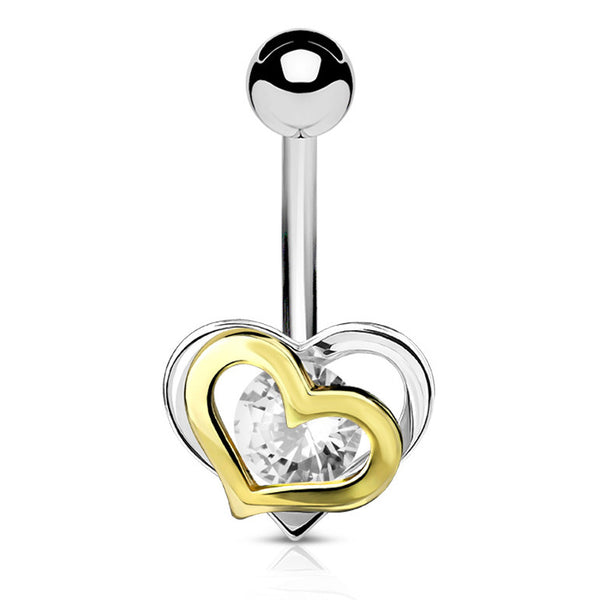 Non Dangle Double Heart Navel Ring