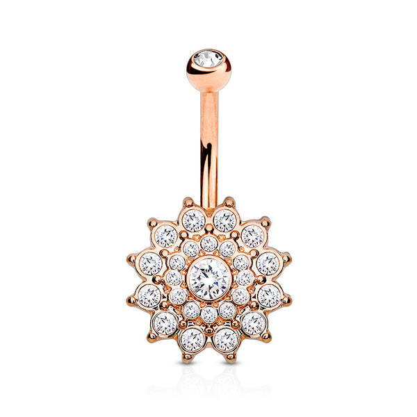 Rose Gold Crystal Paved Dahlia Belly Button Ring