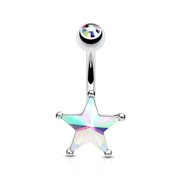 AB Crystal Star Set Belly Button Navel Ring