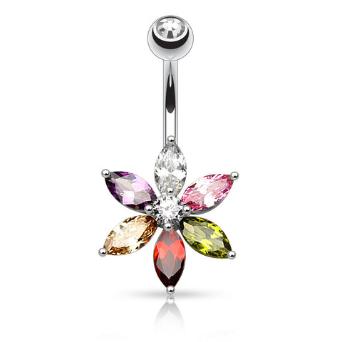 6 Marquise Cut CZ Flower Belly Button Ring, Non Dangle Crystal Navel Ring | Piercing Nombril Fleur Zircone 6 Marquises, Cristal fixe