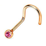 Rose Gold Nose Screw Ring, Pink Crystal Nose Stud