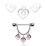Three Hearts Dangle Nipple Ring, Pink CZ Nipple Barbell