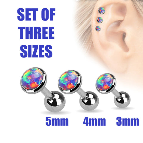 20% OFF, Set Of Three Sizes Purple Opal Cartilage / Helix / Tragus / Barbell | REMISE DE 20%, Pack de 3 tailles Opale Violette Cartilage / Helix / Tragus / Barbell