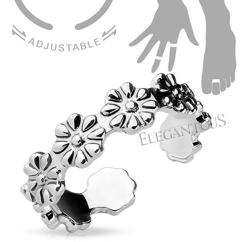 Silver Linked Flowers Midi Ring / Toe Ring