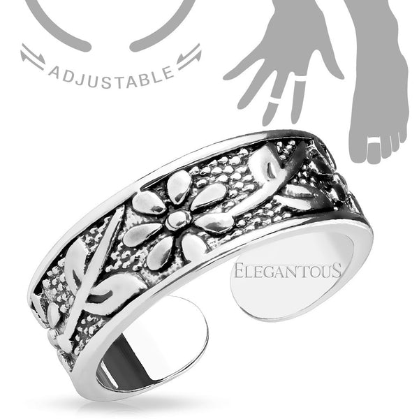 Adjustable Antique Silver Flower Midi Ring / Toe Ring