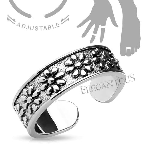 Adjustable Silver Flower Midi Ring / Toe Ring