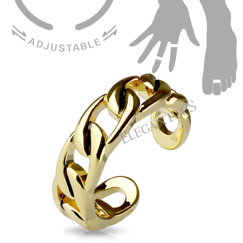Gold Linked Chain Midi Ring / Toe Ring