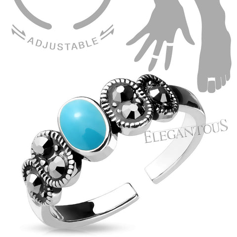Adjustable Turquoise Midi Ring / Toe Ring