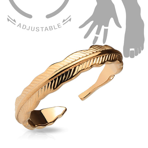 Rose Gold Adjustable Feather Mid Ring
