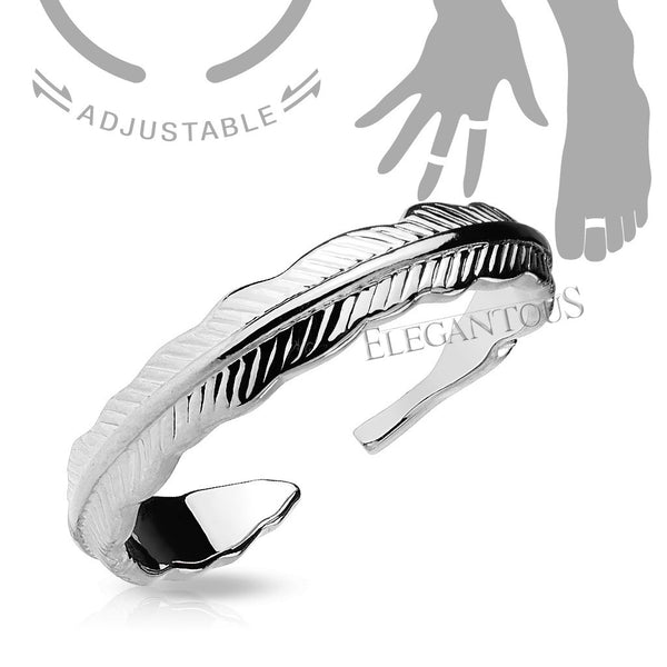 Silver Adjustable Feather Mid Ring / Toe Ring