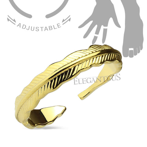 Gold Adjustable Feather Mid Ring / Toe Ring