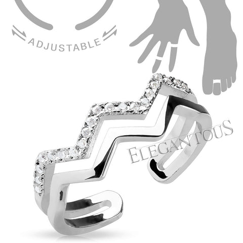 Adjustable CZ Paved Midi Ring / Toe Ring