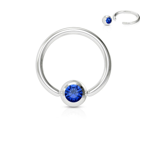 Blue Crystal Septum, Nipple, Cartilage, Captive Bead Ring, Silver Daith Ring