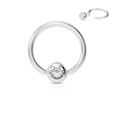 Clear Crystal Septum, Nipple, Cartilage, Captive Bead Ring, Silver Daith Ring