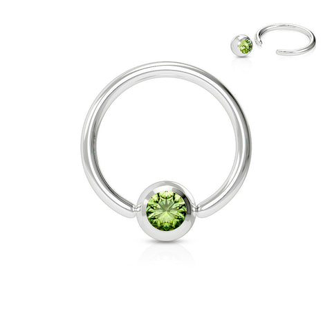 Green Crystal Septum, Nipple, Cartilage, Captive Bead Ring, Silver Daith Ring