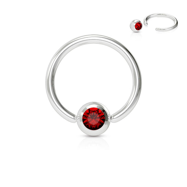 Red Crystal Septum, Nipple, Cartilage, Captive Bead Ring, Silver Daith Ring