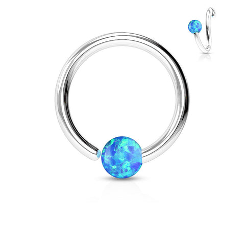Fixed Blue Opal Septum, Nipple, Tragus, Cartilage, Captive Bead Ring, Silver Daith Ring
