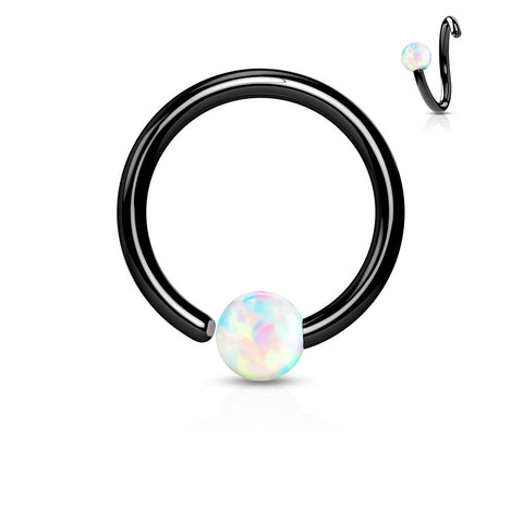 Fixed White Opal Septum, Nipple, Tragus, Cartilage, Captive Bead Ring, Black Daith Ring