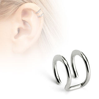 Silver Double Closure Ring, Surgical Steel Fake Non-Piercing Cartilage Clip-On