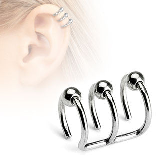 Silver Beaded Triple Closure Cartilage Clip-On