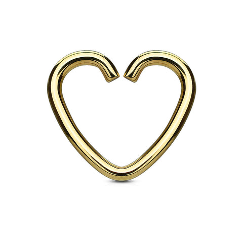 Gold Heart Cartilage Tragus Daith Piercing, Upper Ear Piercing