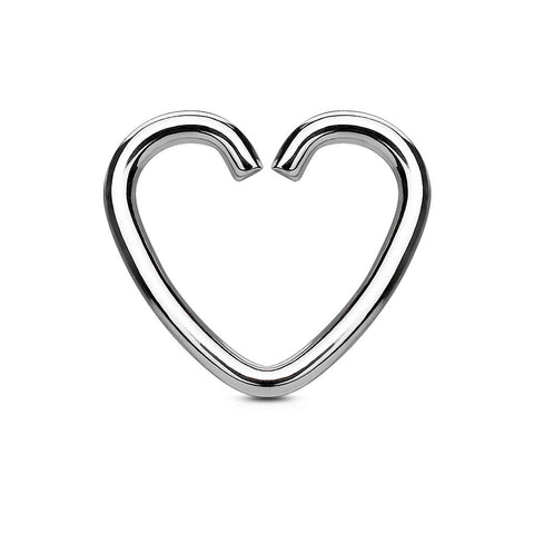 Silver Heart Cartilage Tragus Daith Piercing, Upper Ear Piercing