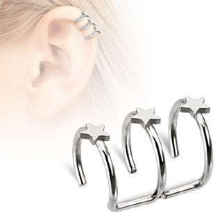 Three Stars Non-Piercing Ear Cuff, Fake Cartilage Closure Ring