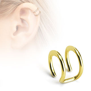 Gold Double Closure Ring, Surgical Steel Fake Non-Piercing Cartilage Clip-On
