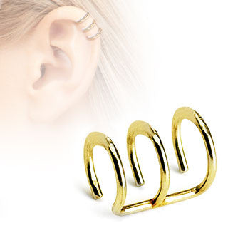 Gold Triple Closure Ring, Surgical Steel Fake Non-Piercing Cartilage Clip-On