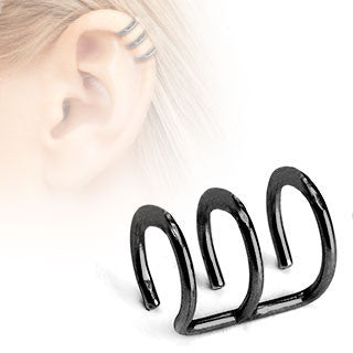 Black Triple Closure Ring, Surgical Steel Fake Non-Piercing Cartilage Clip-On
