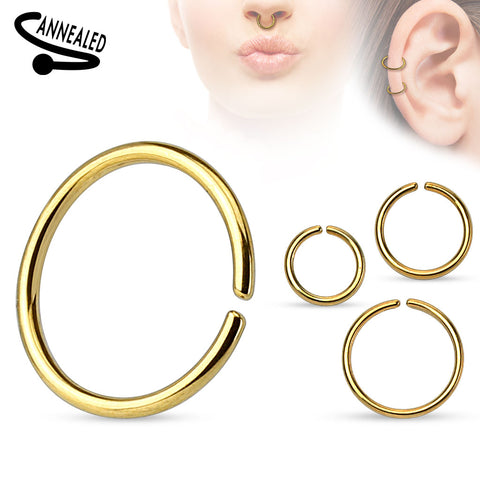 All Sizes - Gold Plated Bendable Nose / Ear / Lip Ring
