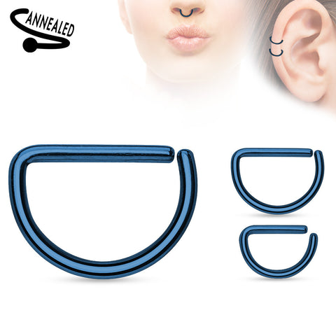 Blue Annealed D shaped Ring, Hoop Piercing